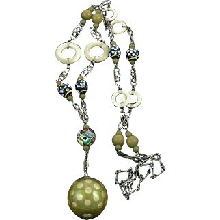 Art Deco Mother of Pearl Venetian and Celluloid Bead Sautoir Necklace