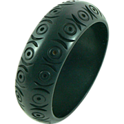Carved Black Bakelite Bangle