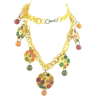 Bakelite Necklace with Infused Dots on Celluloid Chain