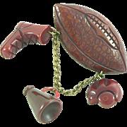 Bakelite Football Brooch with Helmet, Boot and Megaphone 1940s