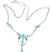 Breathtaking Arts and Crafts Enamel Silver Necklace