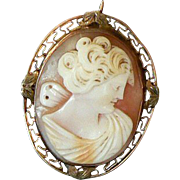 Victorian 10K Gold Pin Pendant Carved Shell Cameo of Psyche