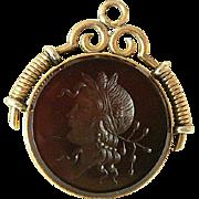 14K Gold Goddess Fob Carnelian Intaglio - Red Tag Sale Item