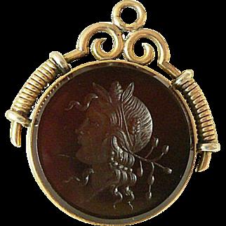 14K Gold Goddess Fob Carnelian Intaglio