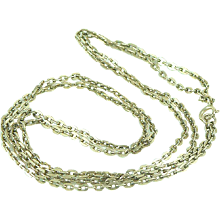 14K Gold Antique Double Chain Oval Flat Link Cable