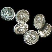 Art Nouveau Buttons Figural Sterling Silver