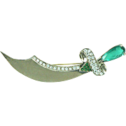 Sterling Jeweled Sword Pin 1940s