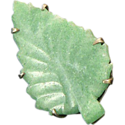 Jade Leaf Pin Pendant Gold Over Silver