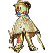 Les Bernard Sterling Clown Pin Moveable Parts Retro 1940s