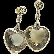 14K Gold Smokey Quartz Dangling Heart Earrings