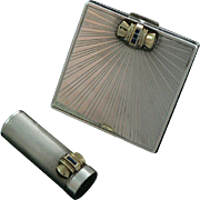 Tiffany Art Deco Compact and Lipstick Sterling Silver 14K Gold Sapphires Original Leather Cases