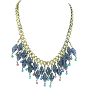 Book Chain Fringe Necklace with Blue Glass Dangles Retro