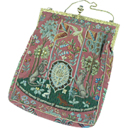 French Tapestry Silk Purse with Unicorns Monkeys and Mythical Beasts