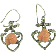 Victorian Gold Filled Coral Earrings