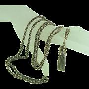 "Victorian 14K Gold Chain with Tassel 51"""