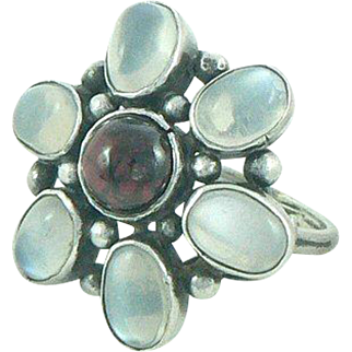 Arts and Crafts Moonstone Garnet Sterling Silver Ring