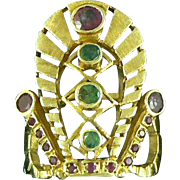 14K Gold Ruby Emerald Crown Ring Greece