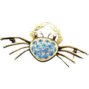 18K Gold Sapphire Diamond Crab Brooch