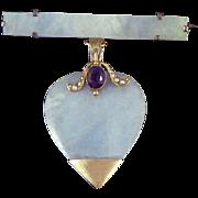 Jade Pale Burmese Jadeite Heart Pendant 10K Gold Amethyst Seed Pearls Bar Pin Victorian Edwardian
