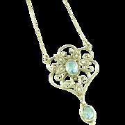 14K Gold Aquamarine Lavaliere Seed Pearls