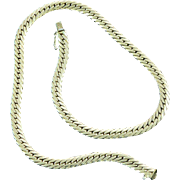 14K Gold Herringbone Chain Collar Necklace Italy