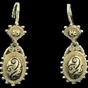 Victorian Revival 14K Gold Enamel Earrings