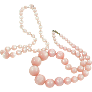 Two Pink Moon Glow Lucite Bead Necklaces