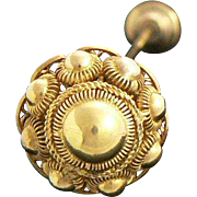 14K Gold Fancy Hat Pin Dramatic Large Cannetille Work