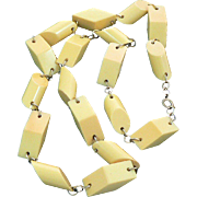 Pale Yellow Geometric Bakelite Link Necklace
