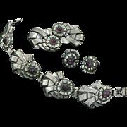 1940s Retro Sterling Bracelet, Brooch and Earring Set Pat. 236854
