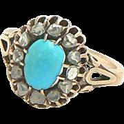 Victorian Era 14K Rose Gold Turquoise Rose Cut Diamond Ring