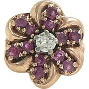 Ruby Diamond 14K Rose Gold Flower Ring Retro 1940s