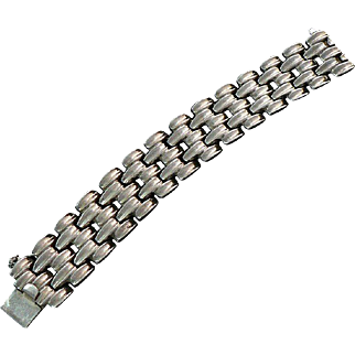 Sterling Silver Mid-Century Modern Mexican Link Bracelet