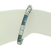 "Art Deco 1/4"" Channel Set Blue and White Sterling Silver Hinged Bangle Bracelet"