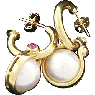 18K Gold Hoop Earrings with Detachable Mabe Pearl and Ruby Dangles