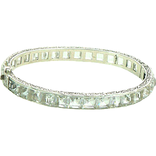"Art Deco 1/4"" Wide Channel Set Clear Sterling Silver Hinged Bangle Bracelet"