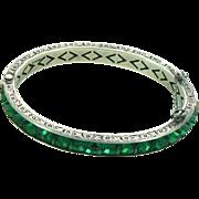 """Art Deco 1/4"""" Channel Set Green Crystal Sterling Silver Hinged Bangle Bracelet"""