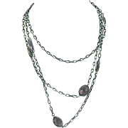 Gunmetal Guard or Muff Chain with Purple Crystals