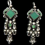 Green Agate Enamel Paste Silver Earrings Art Nouveau