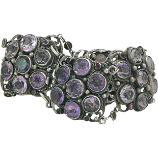 Arts and Crafts Amethyst Cluster Link Sterling Silver Bracelet