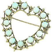 Opal 14K Gold Heart Brooch