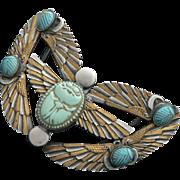 Egyptian Revival Scarab Phoenix Art Deco Belt Sash Buckle