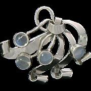Moonstone Sterling Silver Brooch Pendant Binder Bros. NY 1940s Retro