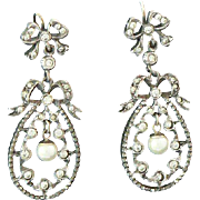 Paste Pearl Silver Antique Dangly Bow Earrings French
