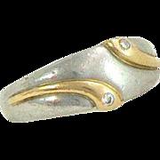 Platinum 18K Gold Diamond Snake Ring
