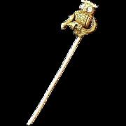 14K Diamond Owl Stick Pin