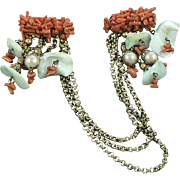 Unsigned Miriam Haskell Branch Coral Shell Faux Pearl Brass Sweater Pin