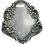 Luggage Tag Pendant Webster Sterling Silver Victorian
