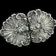 Kerr Art Nouveau Angel Cherub Belt Buckle Sterling Silver