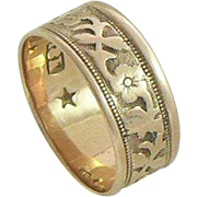 18K Gold Band Ring Flower and Vine Pattern